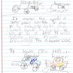 Students drew and wrote about their inventions.