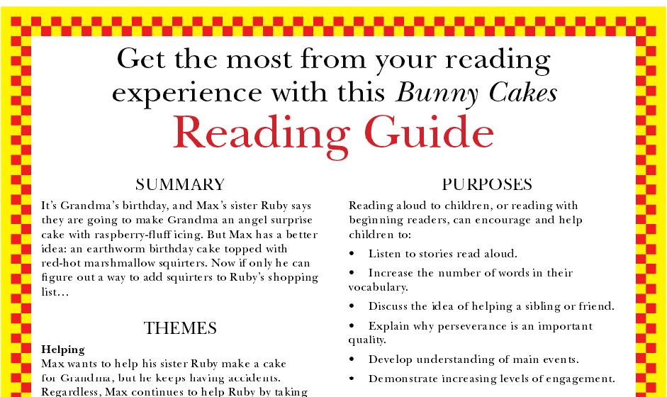 bunny cakes reading guide