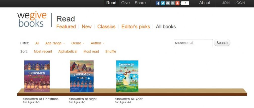 Read the Snowmen books online at WeGiveBooks.org