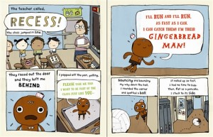 Inside spread from THE GINGERBREAD MAN LOOSE IN THE SCHOOL.