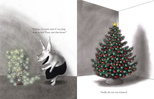 Two-page spread from OLIVIA HELPS WITH CHRISTMAS.